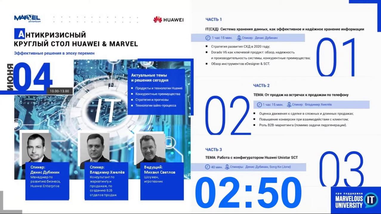 """Серия вебинаров по маркетингу и продажам для """"Huawei"""" и ее партнеров, """"Marvel"""""""